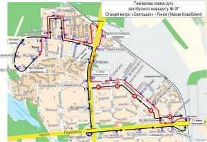 Из-за ремонта временно изменят маршрут автобуса №97. Схема
