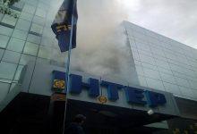 Над будівлею офісу телеканалу Інтер помітили дим
