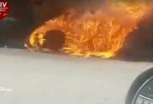Около Глевахи автомобиль врезался в отбойник и загорелся. Видео