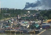 В Вишневом произошел крупный пожар. Видео